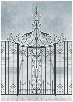 antique old historic wrought iron gate door garden fence formal hedge topiary english