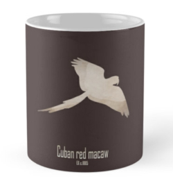 mug coffee tea cup travel-cuban red macaw-extinct critically endangered animals of America-tropical birds Caribbean islands parrots picture poster -Ara tricolor Cuba Caribbean late 19th century cagebird hunting trade macaws