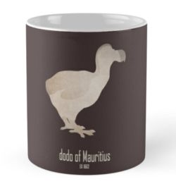 mug coffee tea cup travel -cute dodo of mauritius-extinct animals species names list-emblematic logo birds-Raphus cucullatus flightless bird 17th century endemic island of Mauritius gizzard stones hunting invasive predator