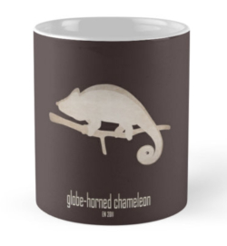 mug coffee tea cup travel -globe-horned chameleon-IUCN red list animals-vulnerable threatened critically endangered species lists names categories information-flat-casqued chameleon Calumma globifer Madagascar endemic forest illegal trade habitat loss