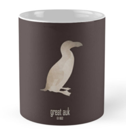 mug coffee tea cup travel -great auk-extinct critically endangered birds-sea ocean aquatic animals waterbird waterfowl North-Atlantic -Pinguinus impennis flightless 19th century oceans coastal waters Native Americans culture symbol