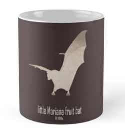 mug coffee tea cup travel -guam flying fox/little Mariana fruit bat-extinct critically endangered animals poster logo images pictures drawing-endemic species Pacific islands nocturnal animals-Pteropus tokudae Marianas Islands Pacific Micronesia 1970s hunting