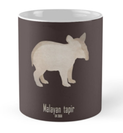 mug coffee tea cup travel-indian tapir-endangered extinct cute baby animals-pictures poster images-Asian Indian Tapirus indicus Southeast Asia tropical lowland rainforests habitat deforestation human activity agriculture damming illegal trade
