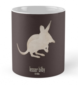 mug coffee tea cup travel -cute lesser bilby/yallara-extinct critically endangered animals of Australia-desert marsupial nocturnal foreign preadators-rabbit-eared white-tailed bandicoot 1950s