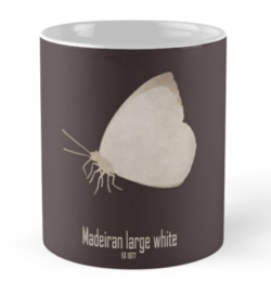 mug coffee tea cup travel -madeiran large white butterfly-endemic species normal species-islands insects butterflies logo drawing-Pieris brassicae wollastoni European laurel forest last seen 1970s island of Madeira