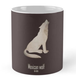 mug coffee tea cup travel -mexican wolf-endangered species act-wildlife conservation wildcare US environmental laws emblematic animal logo-lobo Canis lupus baileyi grey wolf subspecies North America symbolic animal Pre-Columbian Mexico endangered species act USFWS hunting trapping poisoning captive breeding program recovery plan