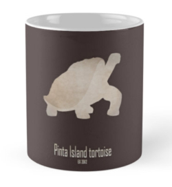 mug coffee tea cup travel-pinta island tortoise-recently extinct animals-endemic species endangered turtles Pacific ocean 21st 20th century-Lonesome George giant turtle Galápagos Ecuador Abingdon island Chelonoidis abingdonii conservation biodiversity restoration