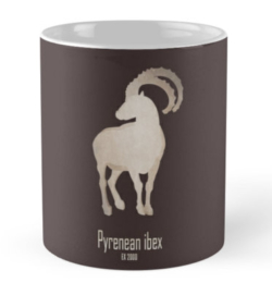 mug coffee tea cup travel -pyrenean ibex-extinct endangered mammals-European mountains recent extinction hunting wildcare conservation efforts cloning-bucardo Capra pyrenaica supspecies wild goat Iberian Peninsula mountains rocky habitat DNA restoration