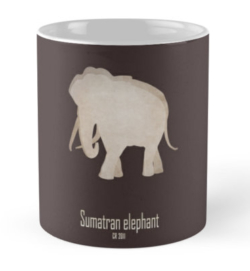mug coffee tea cup travel -sumatran elephant-near extinction endangered-Asian African subspecies poaching tusks- Elephas maximus sumatranus IUCN red list critically habitat loss agriculture poaching ivory
