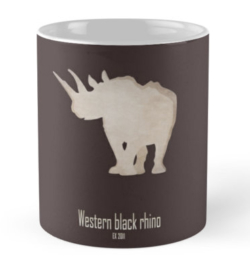mug coffee tea cup travel -western black rhinoceros-cool extinct critically endangered animals-Africa subspecies savanna poaching hunting horn recently extinct 21st century-Diceros bicornis longipes Africa savanna Cameroon IUCN red list