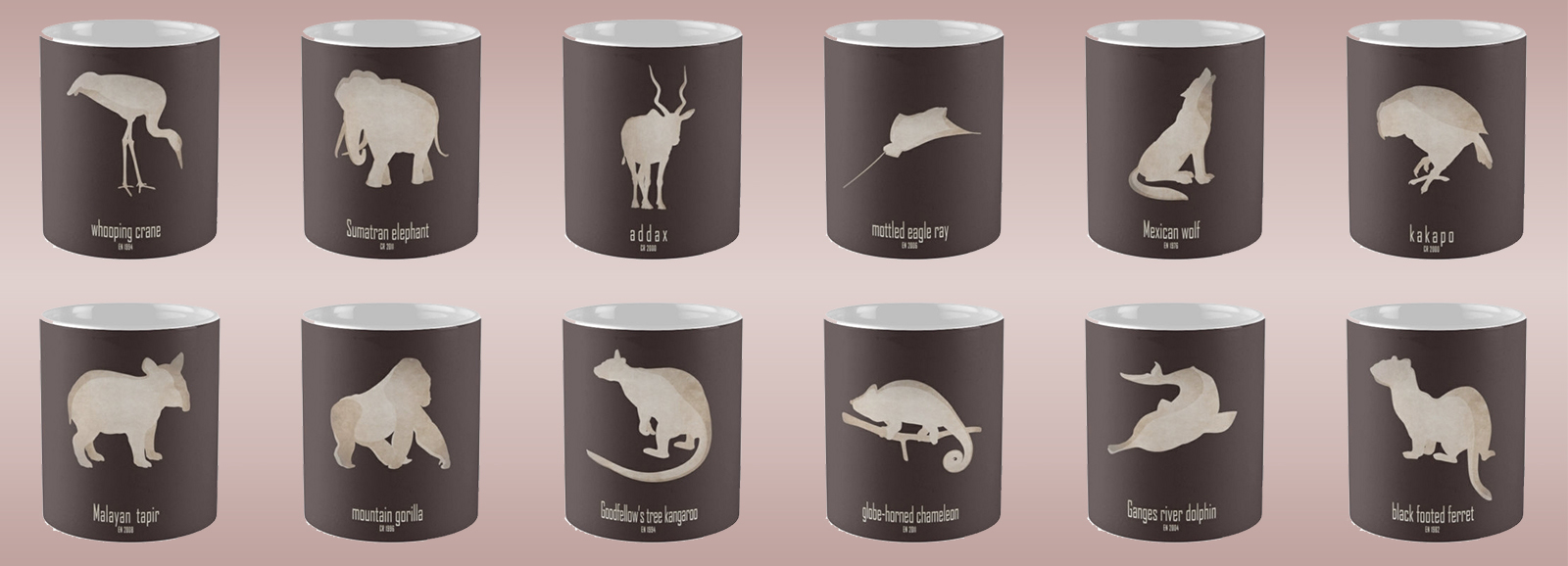 mug coffee tea cup travel endangered animals names list species near extinction critically wildlife conservation foundation wildcare act IUCN red list logo endemic environmentalist save planet earth emblematic symbol