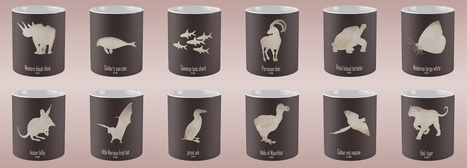 mug coffee tea cup travel extinct animals names list species recently extinct 20th century 21st century IUCN red list wildlife conservation efforts save wildlife planet earth logo biodiversity environmentalist emblematic symbol