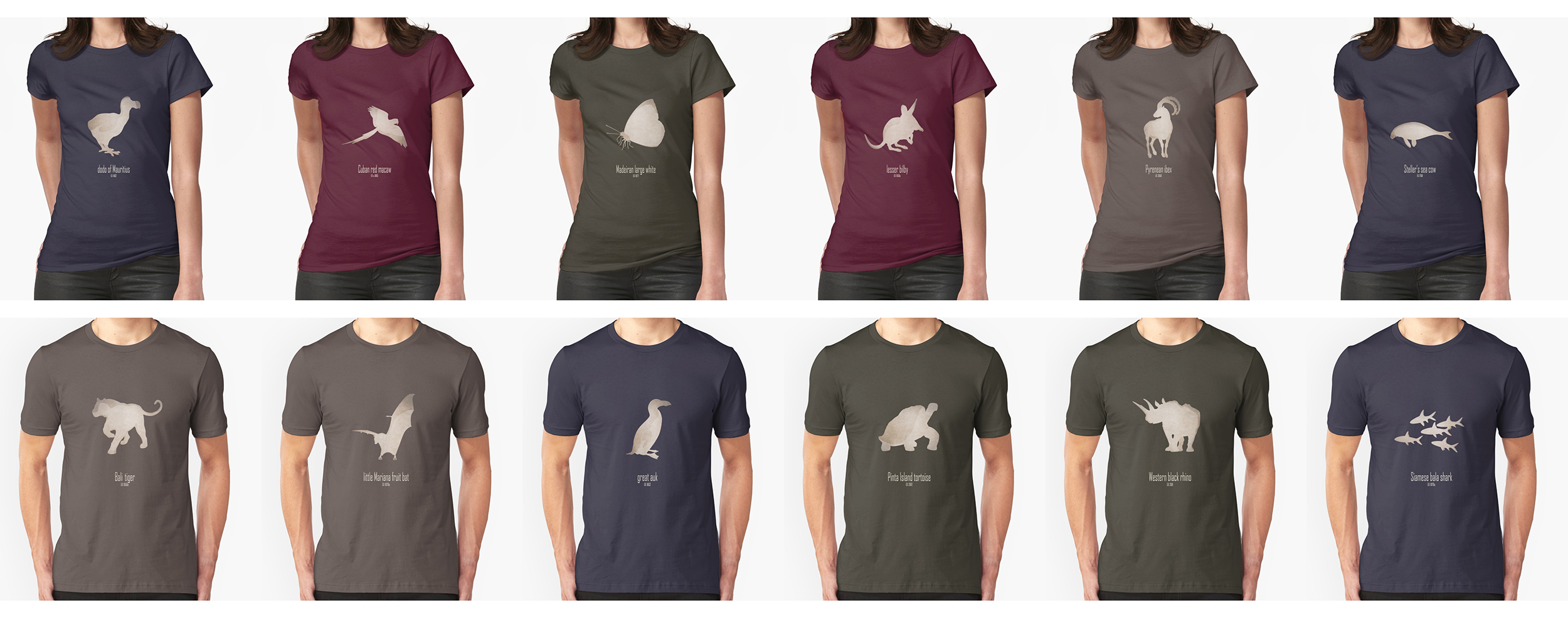 t-shirt men mens womens woman man babies kids boys girls clothes apparel extinct animals names list species recently extinct 20th century 21st century IUCN red list wildlife conservation efforts save wildlife planet earth logo biodiversity environmentalist emblematic symbol