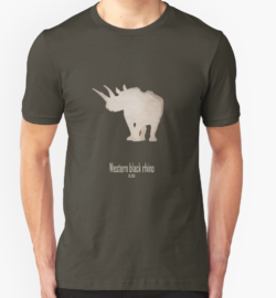 t-shirt men mens womens woman man babies kids boys girls clothes apparel-western black rhinoceros-cool extinct critically endangered animals-Africa subspecies savanna poaching hunting horn recently extinct 21st century-Diceros bicornis longipes Africa savanna Cameroon IUCN red list
