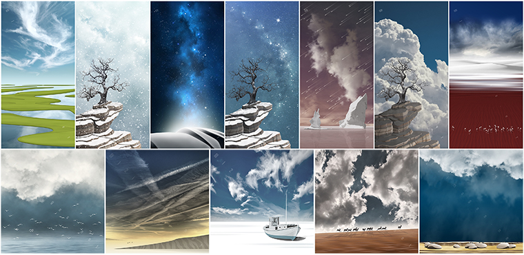 digital-imaginary spiritual magical metaphorical landscapes skyscapes art print clouds sky birds snow strom night stars trees rocks boulders lake ocean sea shore desert dunes fields wall art present gift idea