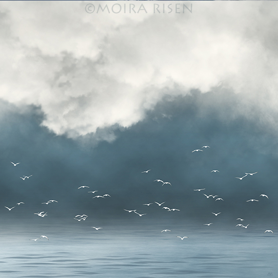 lake fog mist morning white birds gulls flying rising heavy white grey clouds hanging low dark horizon