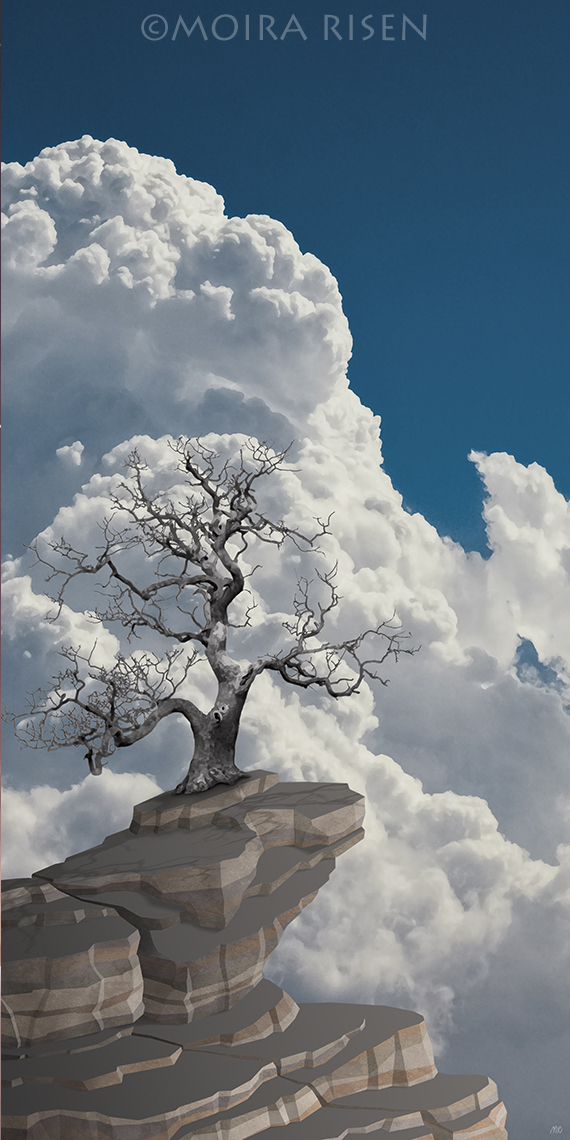 lonely bare leafless tree standing rocks cliff against blue sky white clouds cumulus