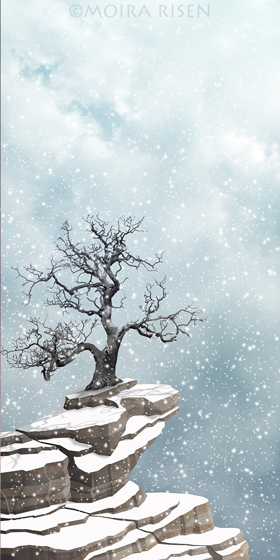 lonely bare leafless tree winter snowfall rocks cliff snow covered silent serene peaceful