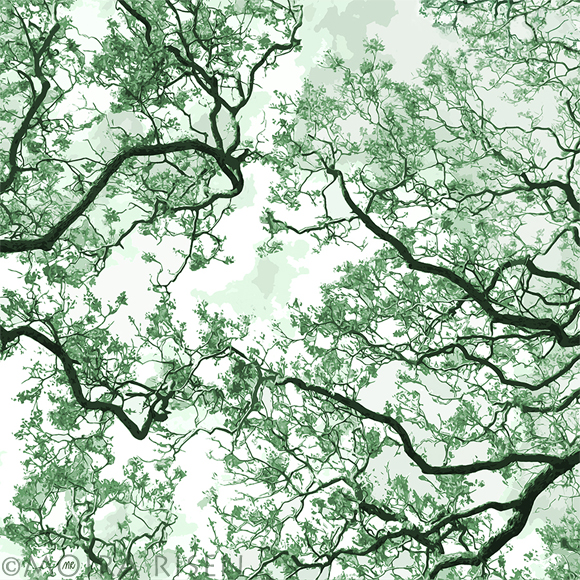 green branches leaves tree against clear sky silhouette pattern japanese woodblock