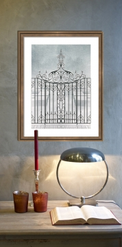 wrought iron garden gate painting winter snow