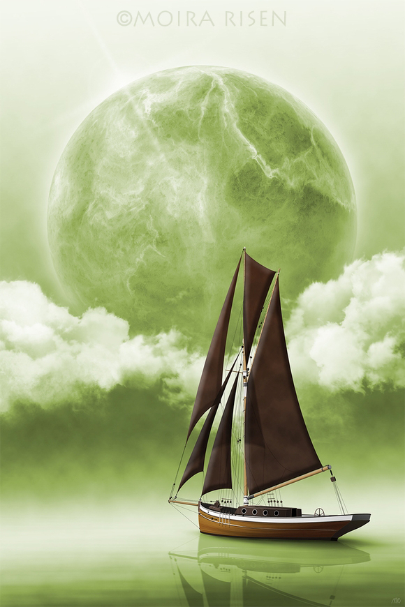 imaginary world foreign sea green planet ocean clouds green sky seascape fog mist lights sunflare