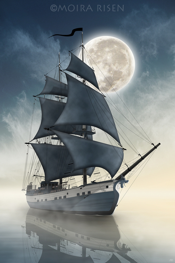 pirates pirate ship Caribbean ghost spirit dark sails dragon bow figure full moon