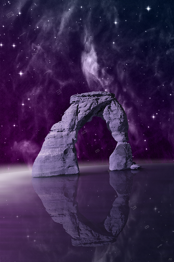 stone arch cliff formation standing in sea ocean water dark night sky stars galaxy reflection fog misty mystical delicate arch