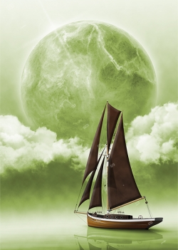 wooden cutter ketch sloop dark sails sailboat yacht sailing on green water sea ocean clouds