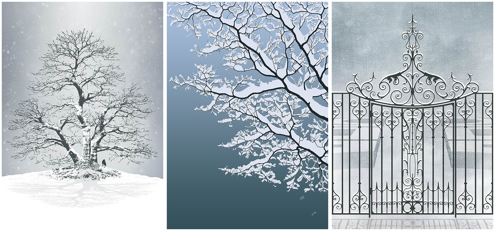 lonely tree standing in winter snow top of the hill with a wolf in silent snowfall snow covered snow laden branches blue sky wind still garden gate wrought iron hedges
