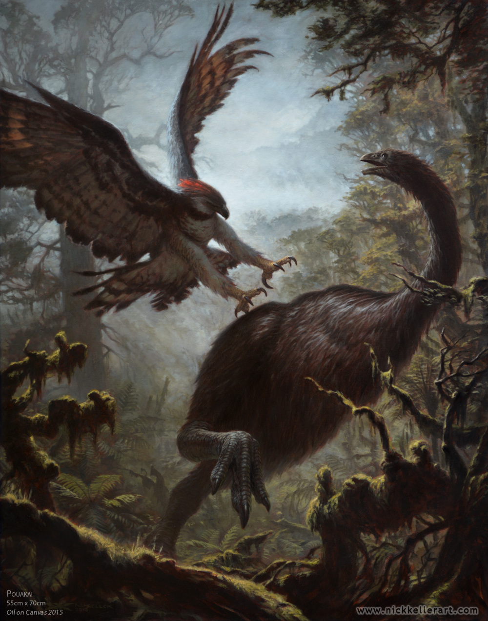 Haast eagle preying on giant moa New Zealand Pleistocene megafauna extinction