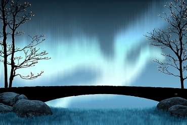 children's-tale-illustration-night-sky-enchanted-forest-old-stone-bridge