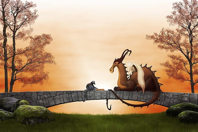 dragon-stone-bridge-ring-tailed-lemur-catta-reading-magical-book-sunset