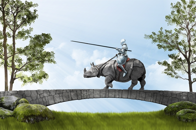 knight-in-armor-riding-rhinoceros-old-stone-bridge-sunrays