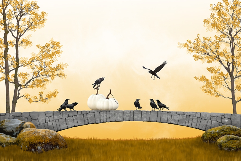 ravens-black-crows-standing-crying-flying-pumpkin-fall-autumn-orange-sundown-sunset