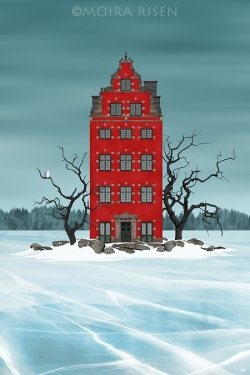 Red-house-on-a-small-island-on-a-frozen-winter-lake
