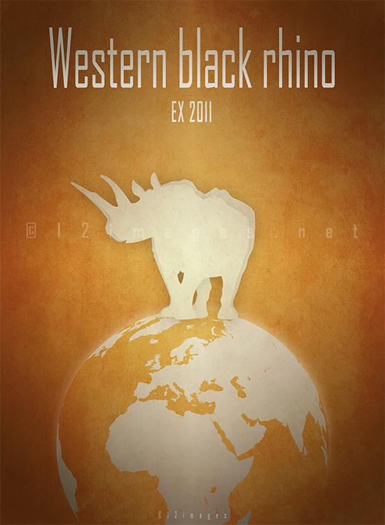 western black rhinoceros Diceros bicornis longipes Africa savanna Cameroon poaching rhino horn extinct IUCN red list poster