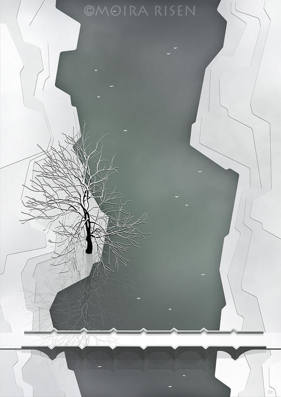 arched stone bridge river banks birds swans Ireland historic mist fog lonely tree