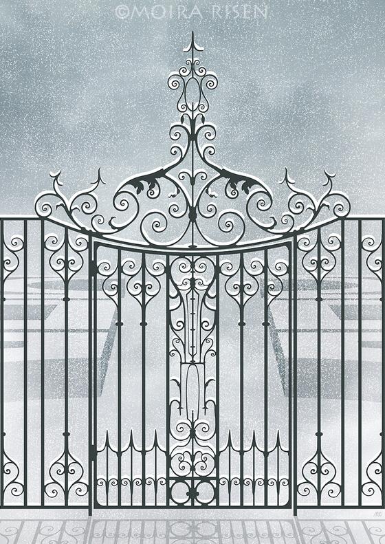 winter wonderland snowy winter garden mist fog snowfall iron gate fence hedge