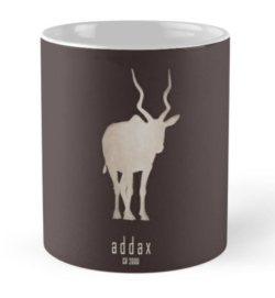 mug coffee tea cup travel -addax-save wildlife nature planet earth environment-logo poster endangered species Africa Sahara desert-white screwhorn antelope Addax nasomaculatus IUCN critically overhunting conservation captive breeding programs