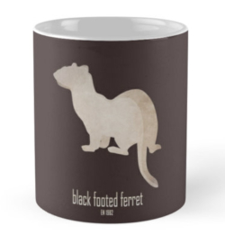 mug coffee tea cup travel -black-footed ferret-wildlife conservation foundation-save wildlife organization logo emblematic cute animal-American polecat prairie dog hunter Mustela nigripes endangered IUCN North America USFWS captive breeding program reintroduction back from extinction