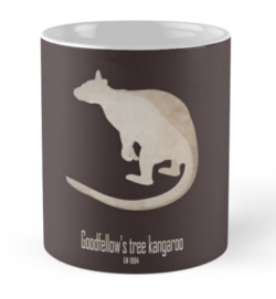 mug coffee tea cup travel -goodfellow's tree kangaroo-extinct endangered rainforest animals-marsupials tropical rainforests Indonesian Islands endemic-ornate tree kangaroo Dendrolagus goodfellow New Guinea montane tropical forests IUCN overhunting habitat loss illegal trade
