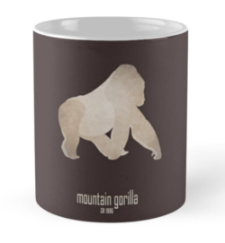 mug coffee tea cup travel - gorilla-most endangered threatened vulnerable animals species-Africa tropical forest eastern western lowland mountain gorillas great apes critically poaching conservation programme-Gorilla beringei eastern subspecies Central Africa cross river conservation efforts Virunga National Park illegal trade