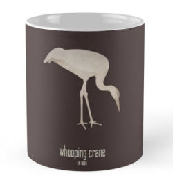 mug coffee tea cup travel -whooping crane-wildcare foundation-wildlife conservation programme efforts logo picture slogan-Grus americana North America migratory populations endangered unregulated hunting habitat loss conservation efforts USFWS recovery plans