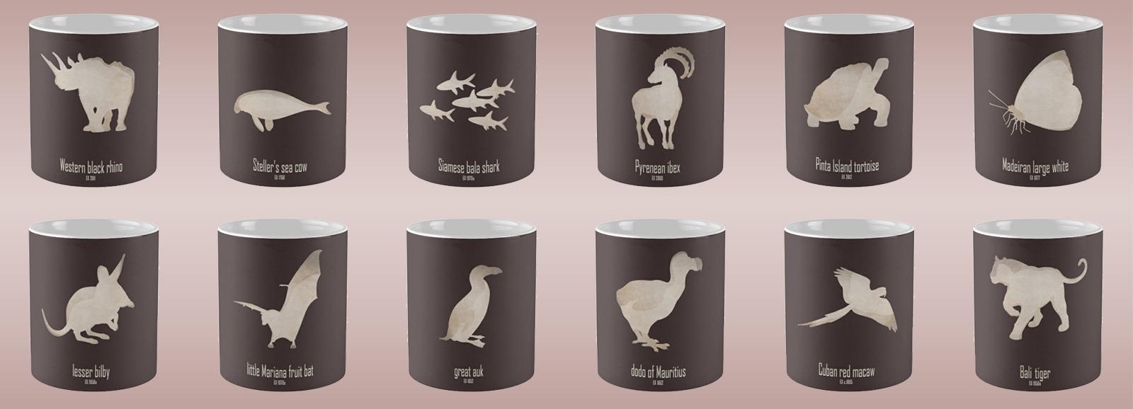 mug coffee tea cup travel extinct animals names list species recently extinct 20th century 21st century IUCN red list wildlife conservation efforts save wildlife planet earth logo biodiversity environmentalist emblematic symbol