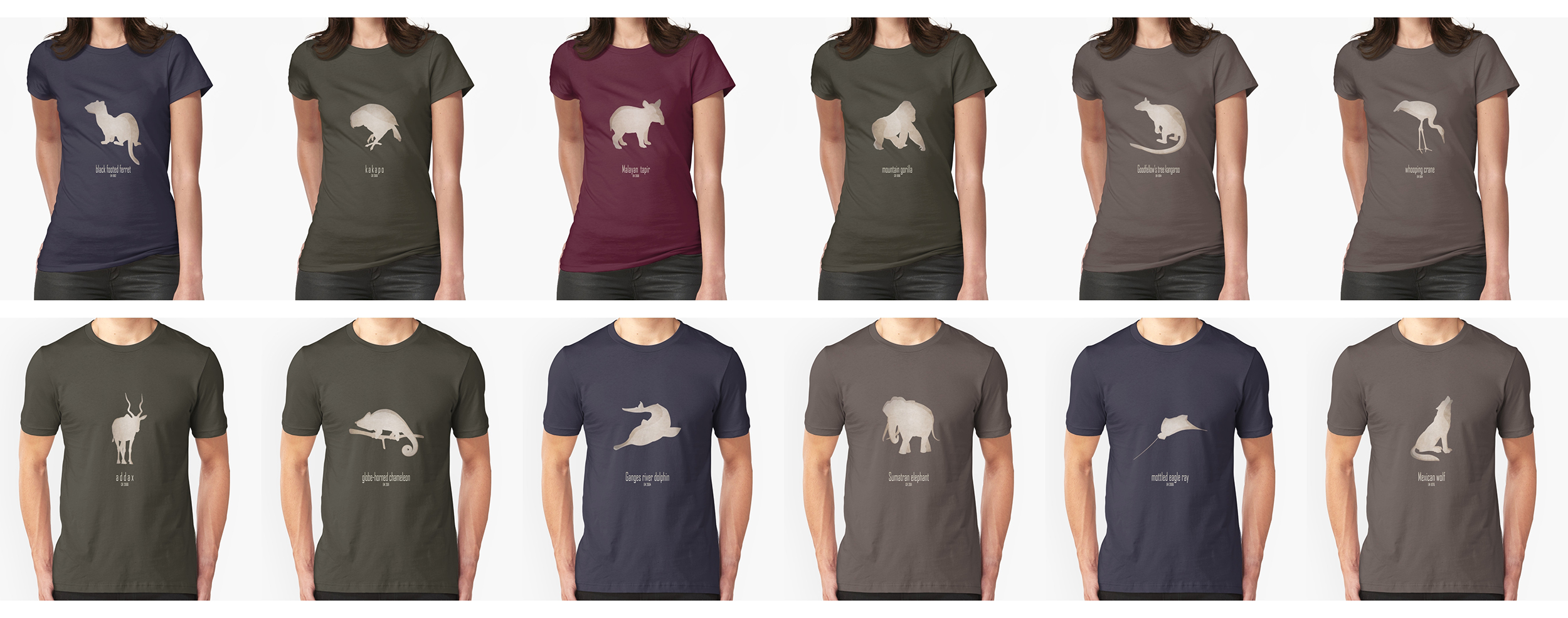 t-shirt men mens womens woman man babies kids boys girls clothes apparel endangered animals names list species near extinction critically wildlife conservation foundation wildcare act IUCN red list logo endemic environmentalist save planet earth emblematic symbol