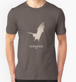 t-shirt men mens womens woman man babies kids boys girls clothes apparel-guam flying fox/little Mariana fruit bat-extinct critically endangered animals poster logo images pictures drawing-endemic species Pacific islands nocturnal animals-Pteropus tokudae Marianas Islands Pacific Micronesia 1970s hunting