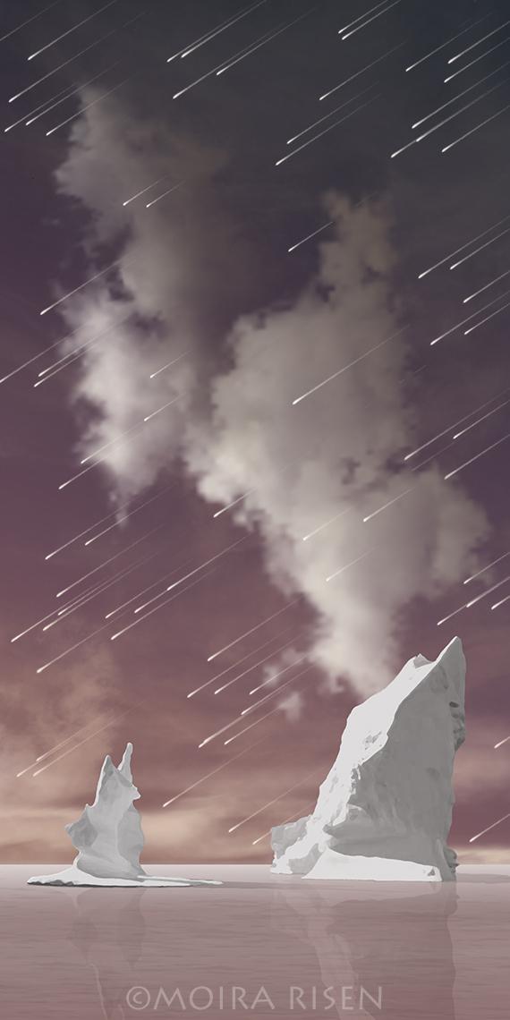 asteroid meteor shower night sky iceberg violet ocean water clouds imaginary digital landscape