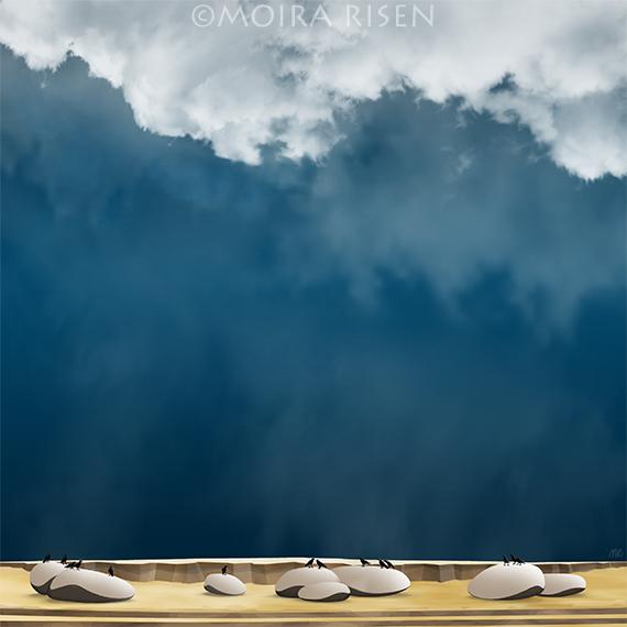 badlands rocks boulders pebbles crows ravens hanging storm clouds rain
