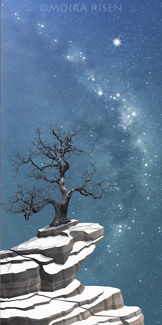 lonely bare leafless winter tree snow rocks cliff mountain night sky silhouette