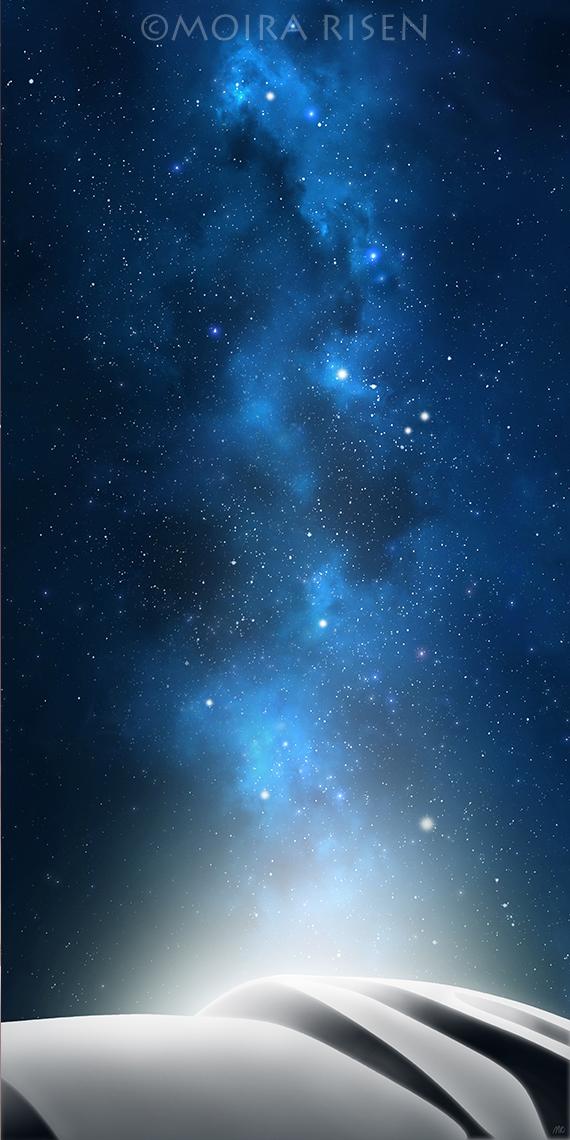 night sky milky way blue stars planets white desert dunes stardust shadow starlight imaginary digital landscape